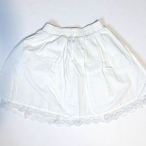 Vintage White Elastic Waist Circle Skirt with Lace